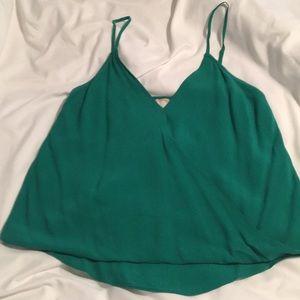 Sexy green faux-wrap tank top!